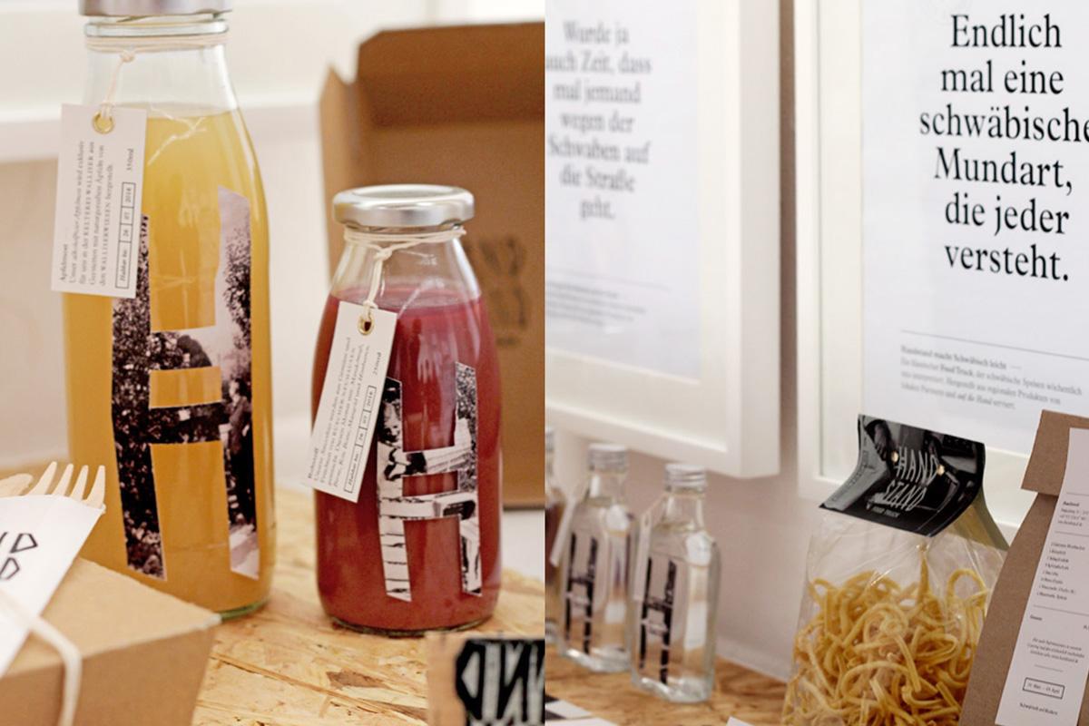 Getränke und Werbeanzeigen für den Foodtruck »Handstand«
